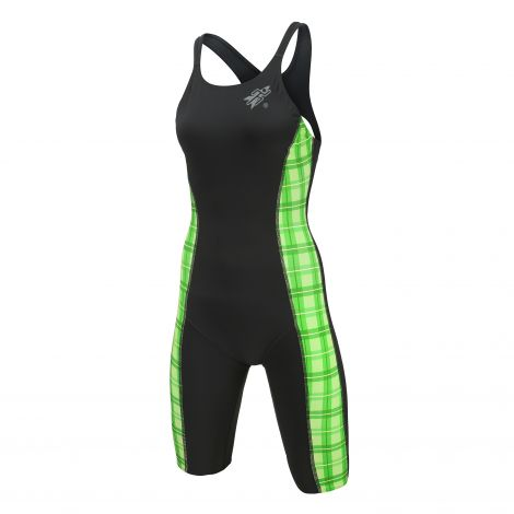 Rocket Orbit2 Racer Women's Knee Swimsuit - GREEN PLAID